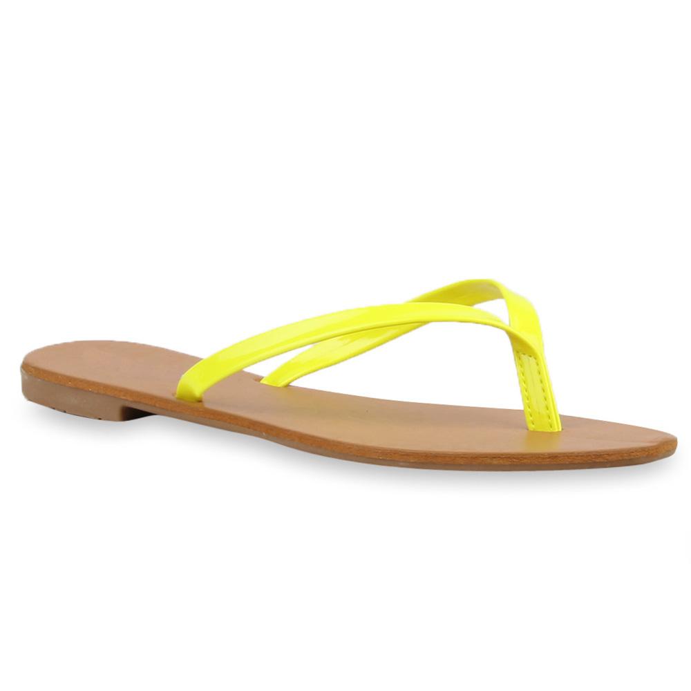Damen Sandalen Zehentrenner - Neongelb