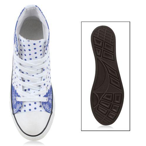 Damen Sneaker high - Weiß Blau