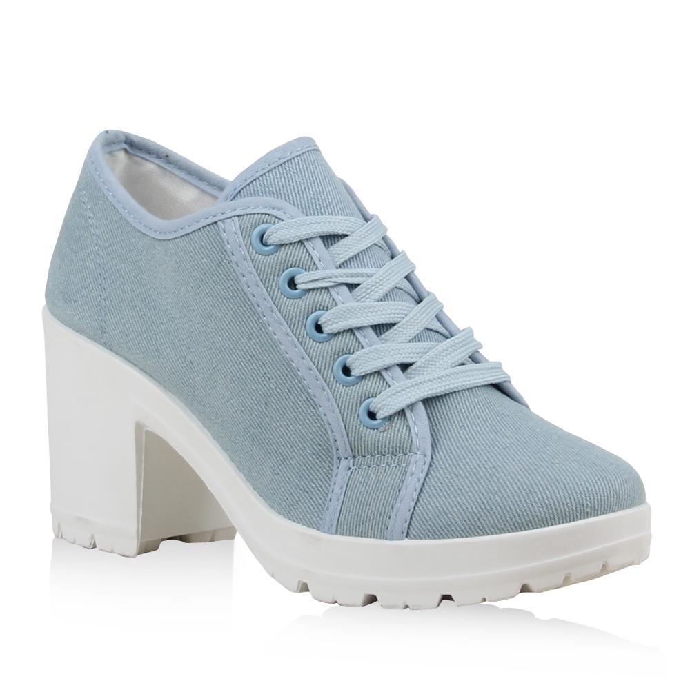 Damen Stiefeletten Ankle Boots - Hellblau