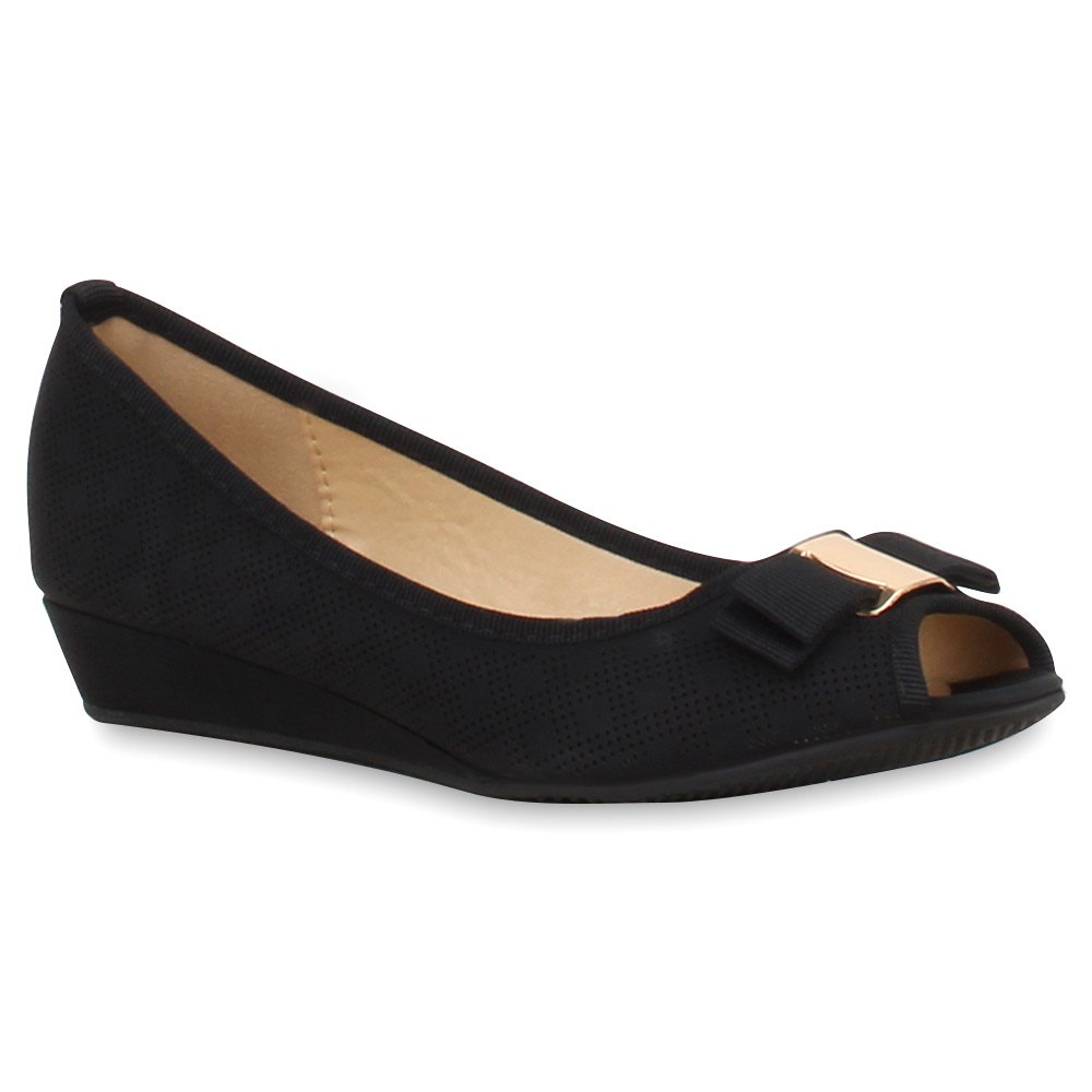 Damen Pumps Peeptoes - Schwarz
