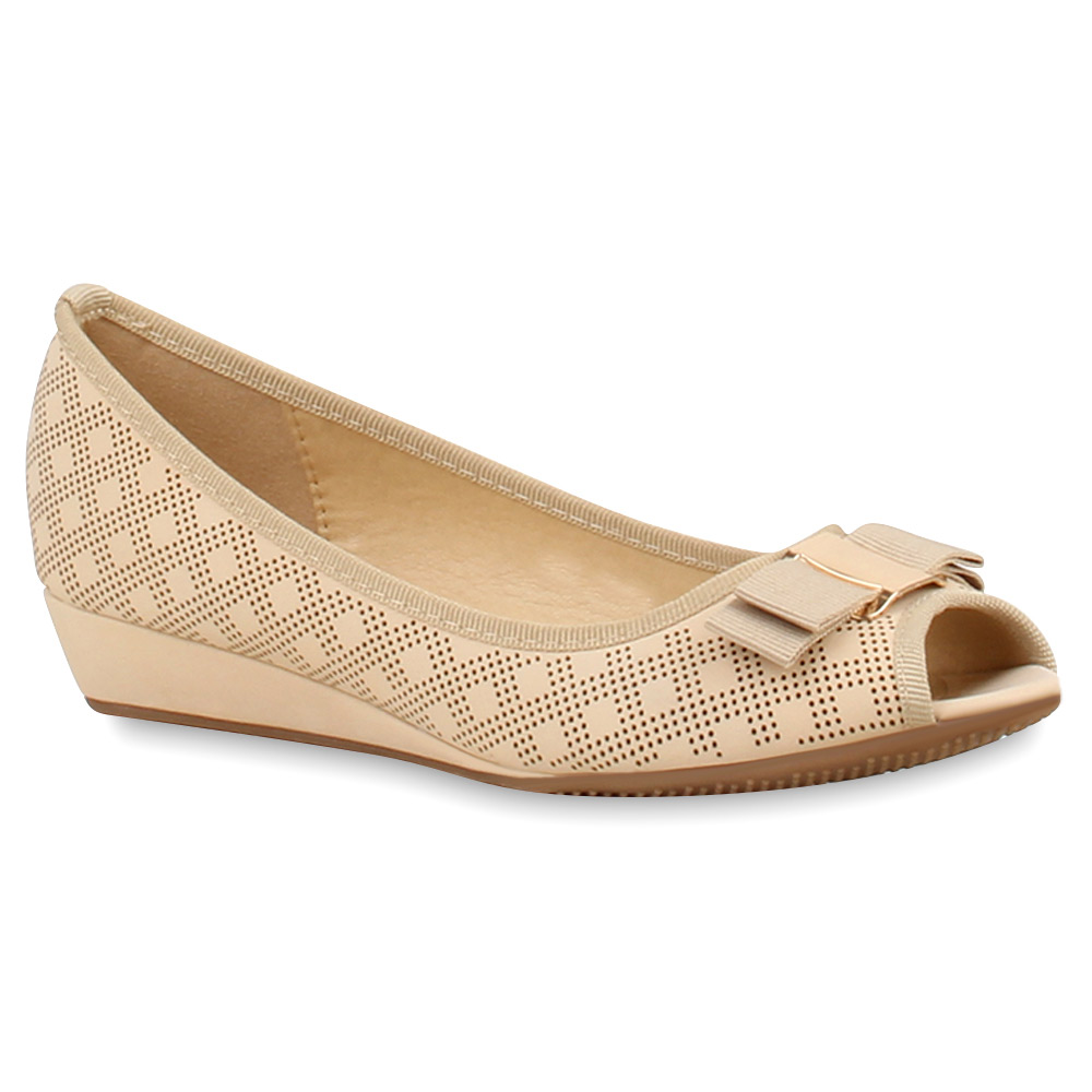 Damen Pumps Peeptoes - Creme