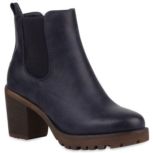 Damen Stiefeletten Chelsea Boots - Blau