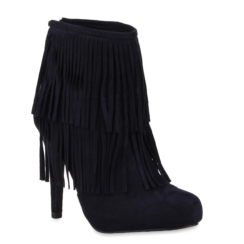 Damen Stiefeletten High Heels - Dunkelblau