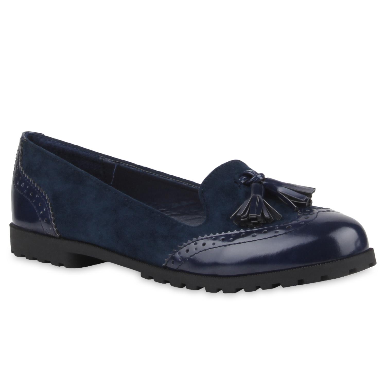 Damen Slippers Loafers - Dunkelblau