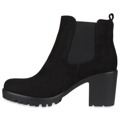 Damen Stiefeletten Chelsea Boots - Schwarz Basic