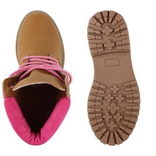 Damen Stiefeletten Worker Boots - Hellbraun Pink
