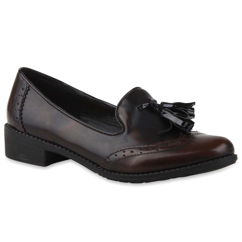 Damen Slippers Loafers - Dunkelbraun