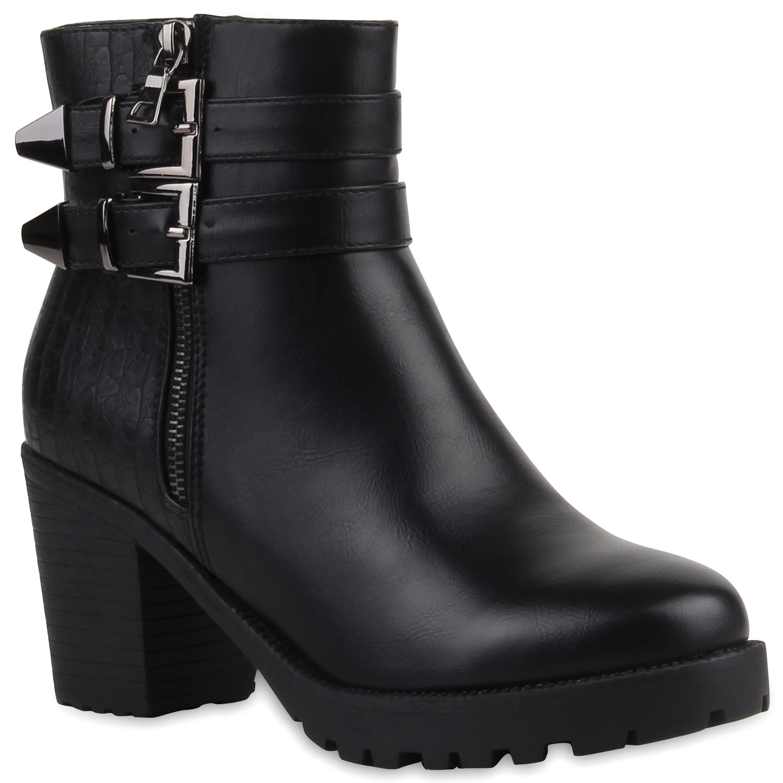 187188d8bb92 Damen Stiefeletten Plateau Boots - Schwarz