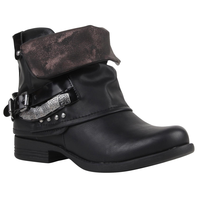 lowest price c1f36 62c90 Damen Stiefeletten Biker Boots - Schwarz