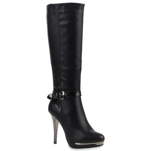 Damen Stiefel High Heels - Schwarz