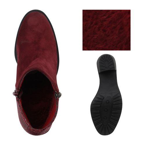 Damen Stiefeletten Ankle Boots - Burgund