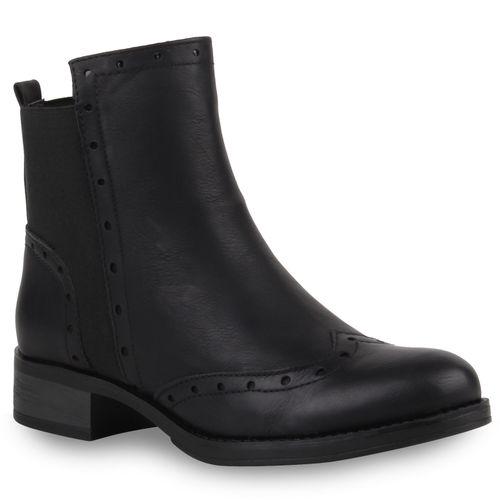 Damen Stiefeletten Chelsea Boots - Schwarz