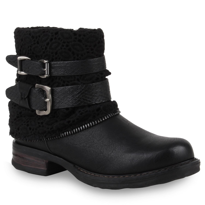 damen stiefeletten biker boots schwarz auf rechnung. Black Bedroom Furniture Sets. Home Design Ideas