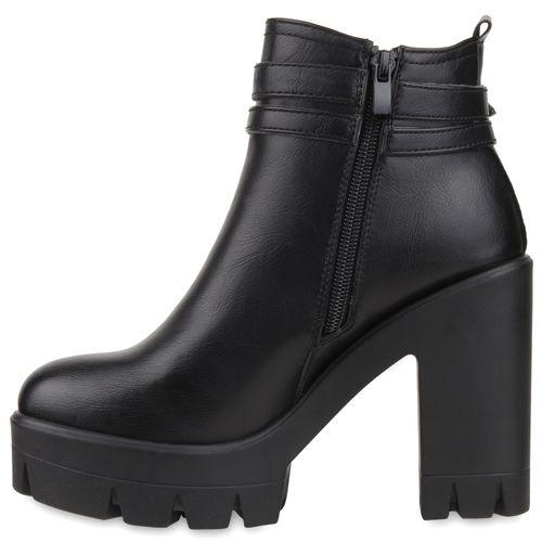 Damen Stiefeletten Plateau Boots - Schwarz