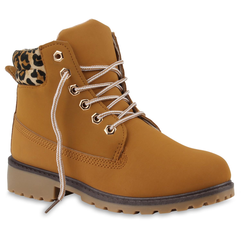 Damen Stiefeletten Worker Boots - Hellbraun Muster