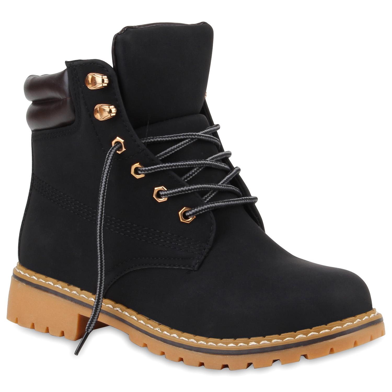 Damen Stiefeletten Worker Boots - Schwarz - Beas
