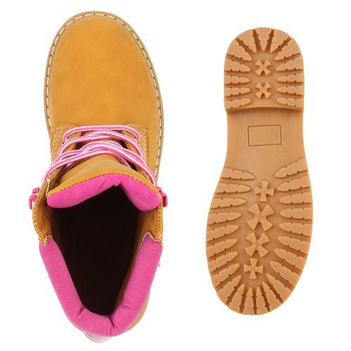 Damen Stiefeletten Worker Boots - Pink - Beas