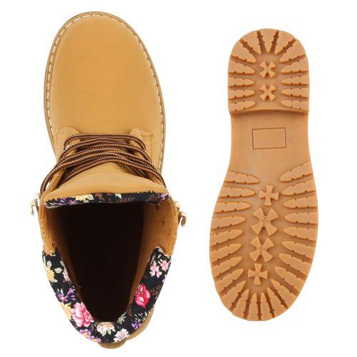 Damen Stiefeletten Worker Boots - Muster - Beas