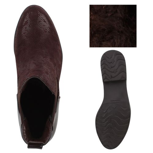 Damen Stiefeletten Chelsea Boots - Hellbraun Leopard - Mulchen