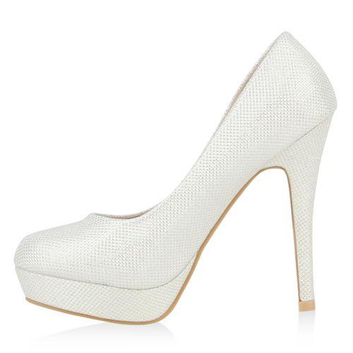 Damen Plateau Pumps - Weiß