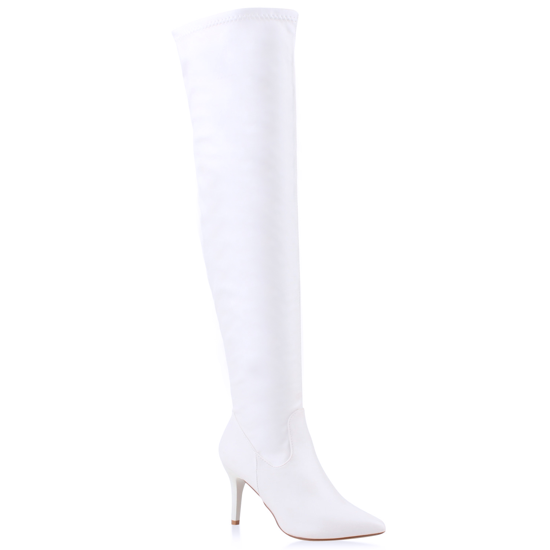 Damen Stiefel Overknees - Weiß