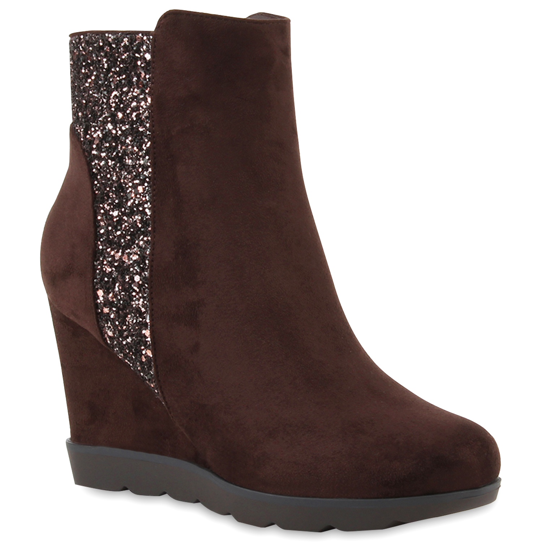 Damen Stiefeletten Ankle Boots - Dunkelbraun