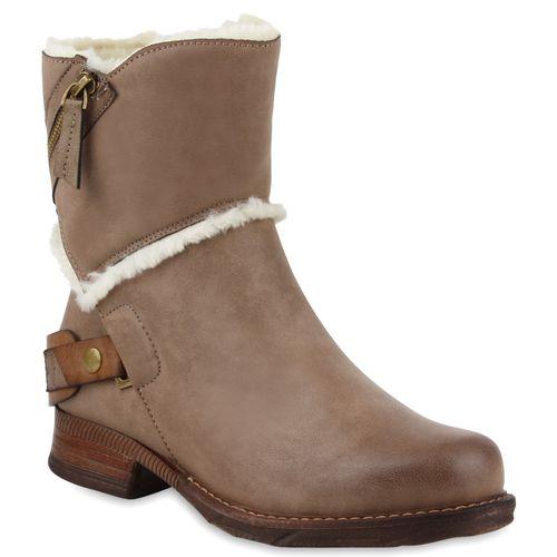 Damen Stiefeletten Biker Boots - Taupe
