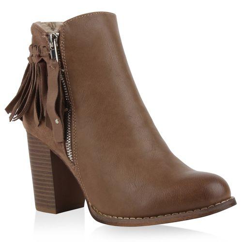 Damen Stiefeletten Ankle Boots - Khaki