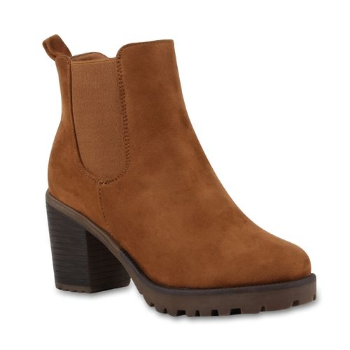 Damen Stiefeletten Chelsea Boots - Hellbraun Braun