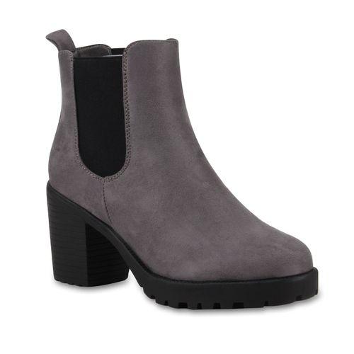 Damen Stiefeletten Chelsea Boots - Grau Schwarz