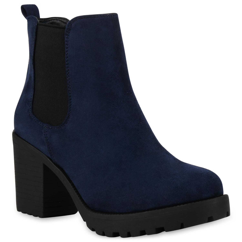 Damen Stiefeletten Chelsea Boots - Marineblau