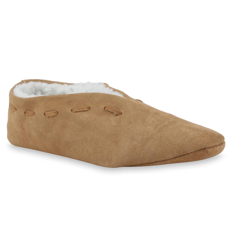 Herren Hausschuhe Pantoffeln - Hellbraun