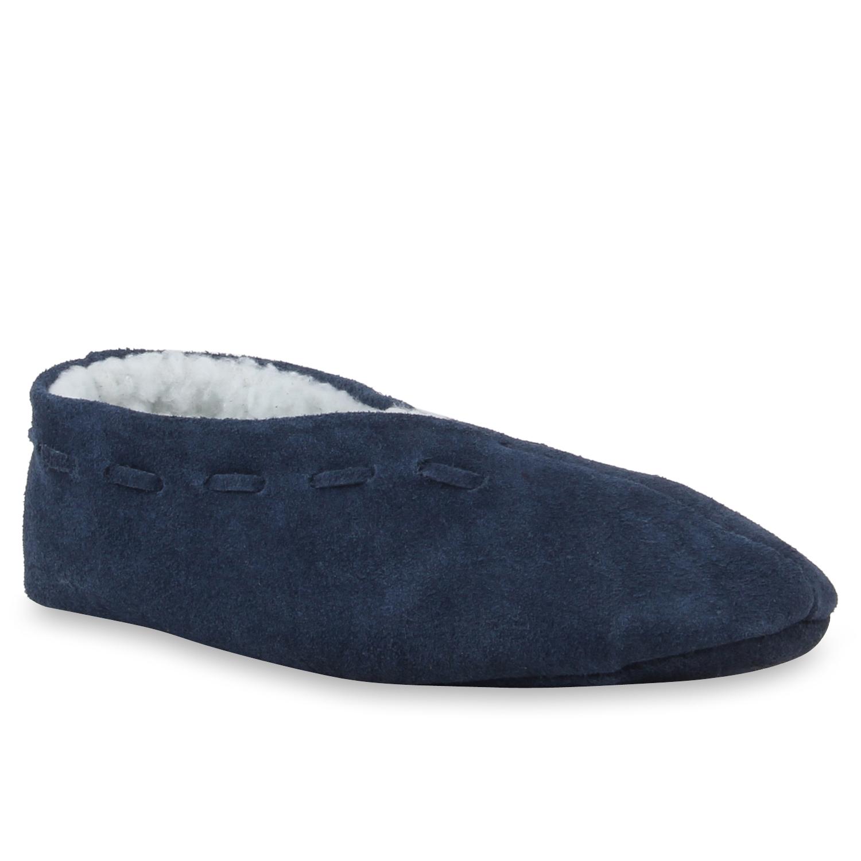 Hausschuhe - Damen Hausschuhe Klassische Hausschuhe Dunkelblau › stiefelparadies.de  - Onlineshop Stiefelparadies