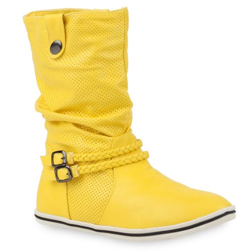 Damen Stiefel Schlupfstiefel - Gelb