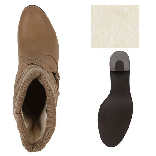 Damen Klassische Stiefel - Beige Khaki