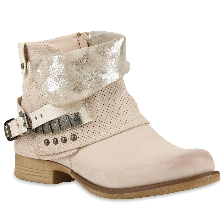 Damen Stiefeletten Biker Boots - Gold - Nieuwegein