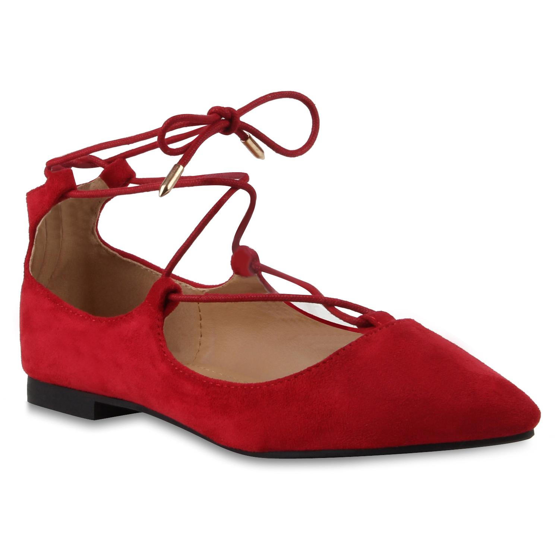 Damen Ballerinas Riemchenballerinas - Rot