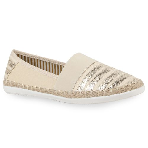 Damen Slippers Slip Ons - Beige