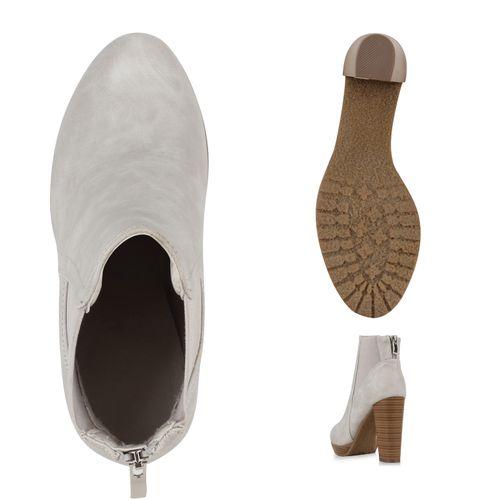 Damen Stiefeletten Ankle Boots - Hellgrau