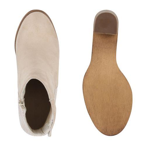 Damen Stiefeletten Ankle Boots - Beige