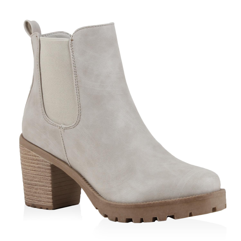 Damen Stiefeletten Chelsea Boots - Hellgrau