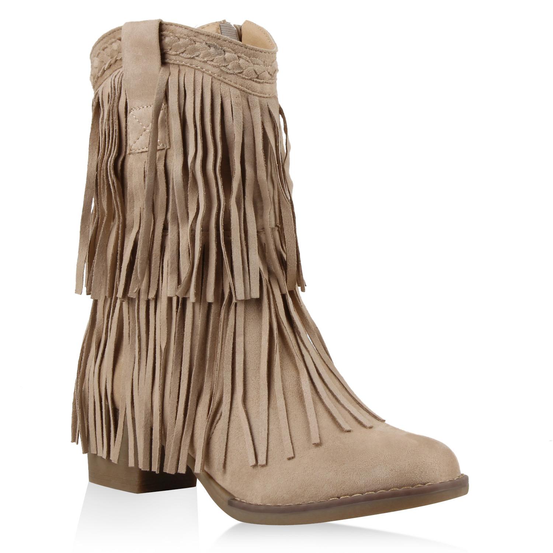 Damen Stiefel Cowboystiefel - Nude