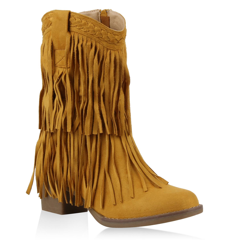 Damen Stiefel Cowboystiefel - Gelb