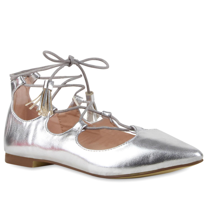 Damen Ballerinas Riemchenballerinas - Silber