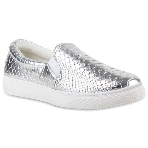 Damen Sneaker Slip Ons - Silber