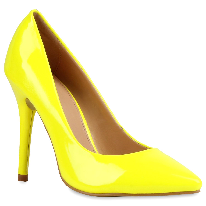 Damen Spitze Pumps - Neon Gelb