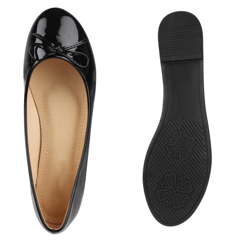 Klassische Damen Lack Ballerinas Schleifen Freizeit Flats Schuhe 79380 Mode