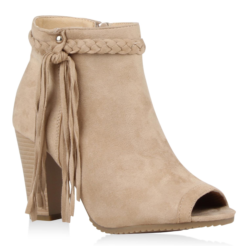 Damen Stiefeletten Ankle Boots - Nude