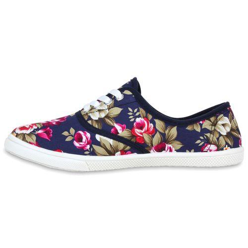 Damen Sneaker low - Dunkelblau Blumenprint