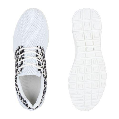 Damen Sportschuhe Laufschuhe - Weiß Leopard